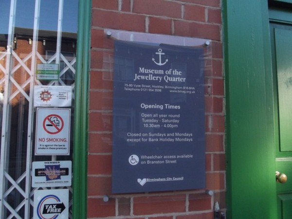 The Museum of the Jewellery Quarter opening times sign ell brown/Flickr