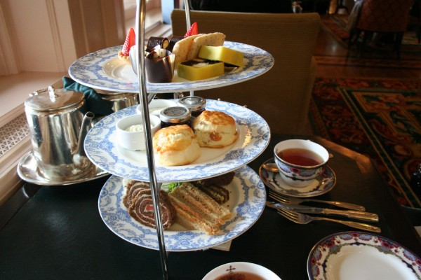 Afternoon tea at a hotel firepile/Flickr
