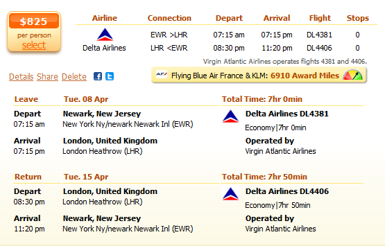 Newark to London flight details