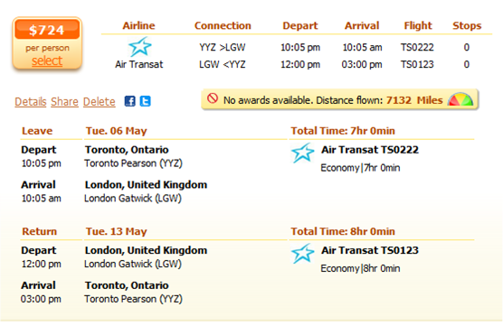 Toronto to London flight details