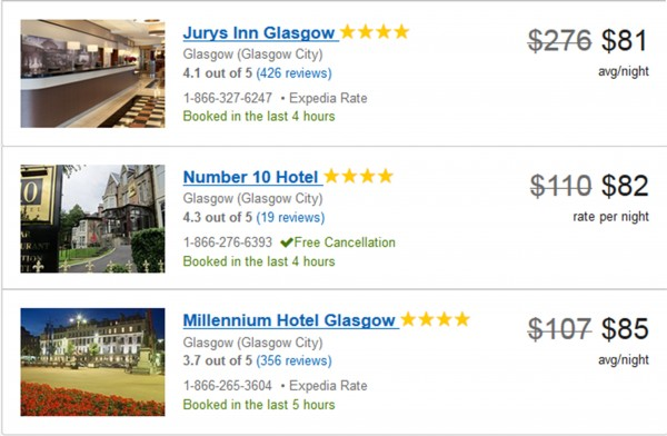 3 cheapest 4-star Glasgow hotels