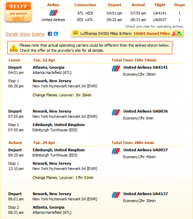 Atlanta to Edinburgh flight details