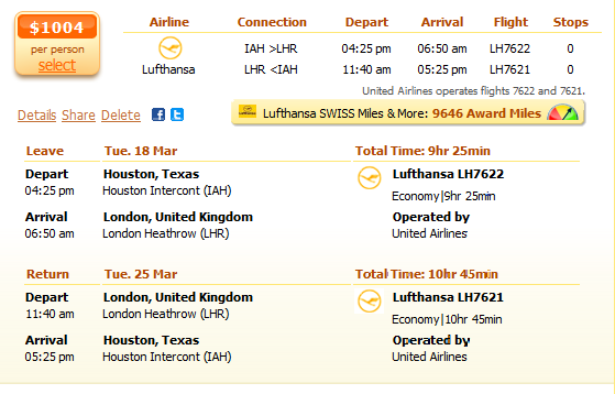 Houston to London flight details