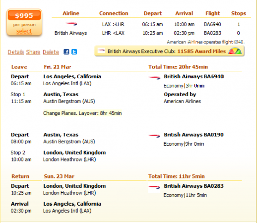 Los Angeles to London flight details