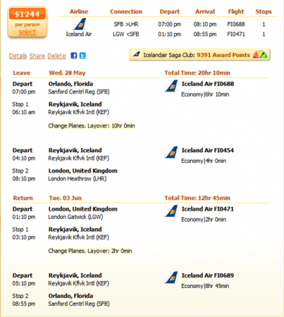 Orlando to London flight details