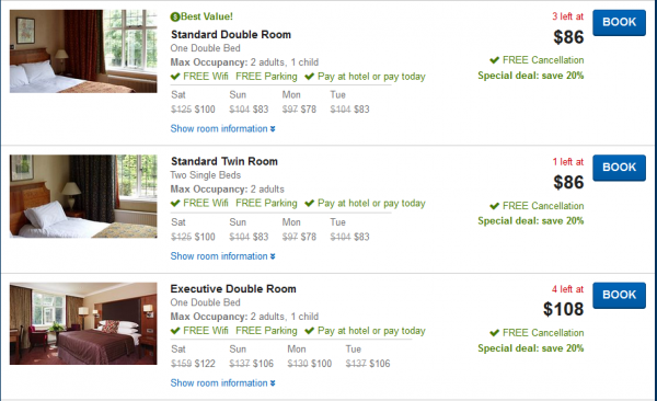 Room types in the Stanneylands Hotel Manchester