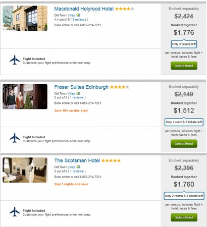 Save over $500 on 4 nights Edinburgh getaways