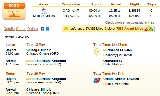 Chicago to London flight details