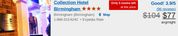Collection Hotel Birmingham - deal details
