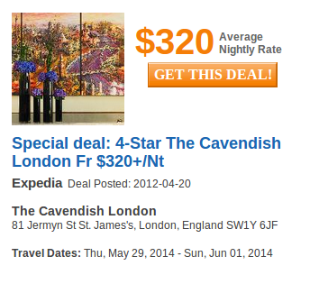 The Cavendish Hotel - deal details