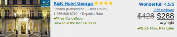 K&K Hotel George - deal screenshot
