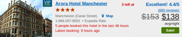 Manchester hotel - offer screenshot