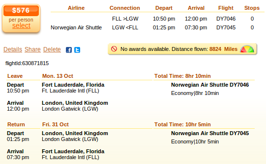 Fort Lauderdale to London flight deal
