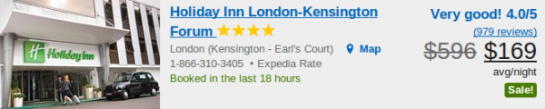 Holiday Inn London Kensington Forum for $169