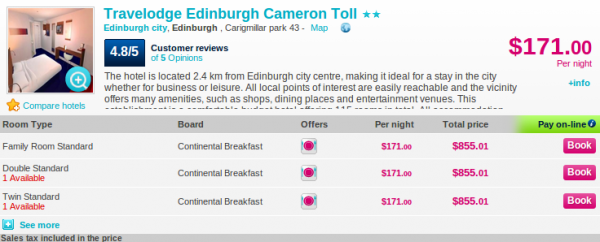 Deal details - Travelodge Edinburgh Cameron Toll