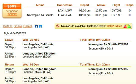 Los Angeles to London flight - deal details