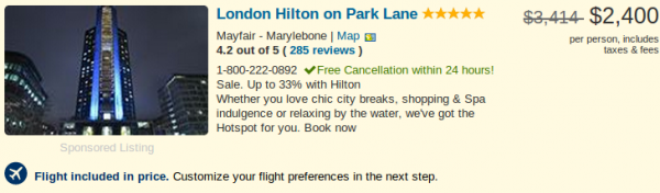 London Hilton Park Lane vacation package