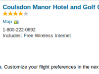 London vacation at Coulsdon Manor Hotel for $1310